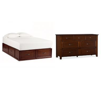 Stratton Bed with Drawers Bed & Extra-Wide Dresser Set, King/Cal. King, Mahogany stain