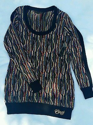 1X XL Nwt Coogi Plus Size mini knit sweater dress women\'s black ...