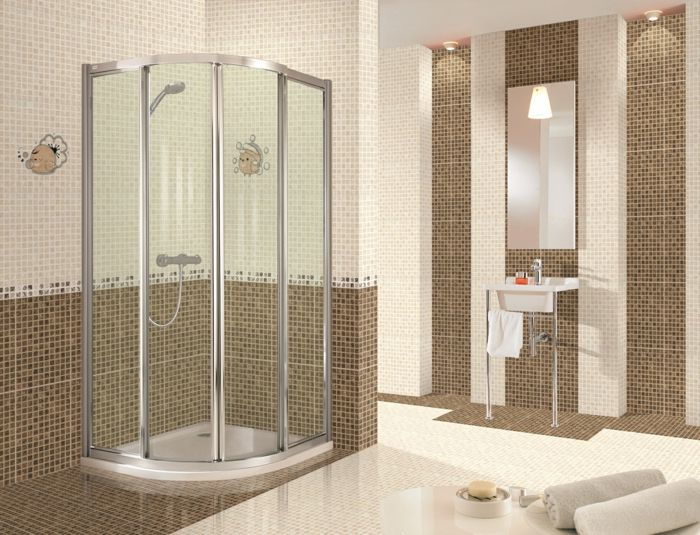 Bathroom Enchanting Mirrored Tile Backsplash For Modern Home - salle de bain grise et beige
