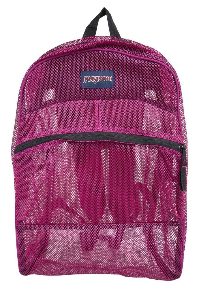 Jansport Mesh Backpack Berrylicious Purple See Through Student ...