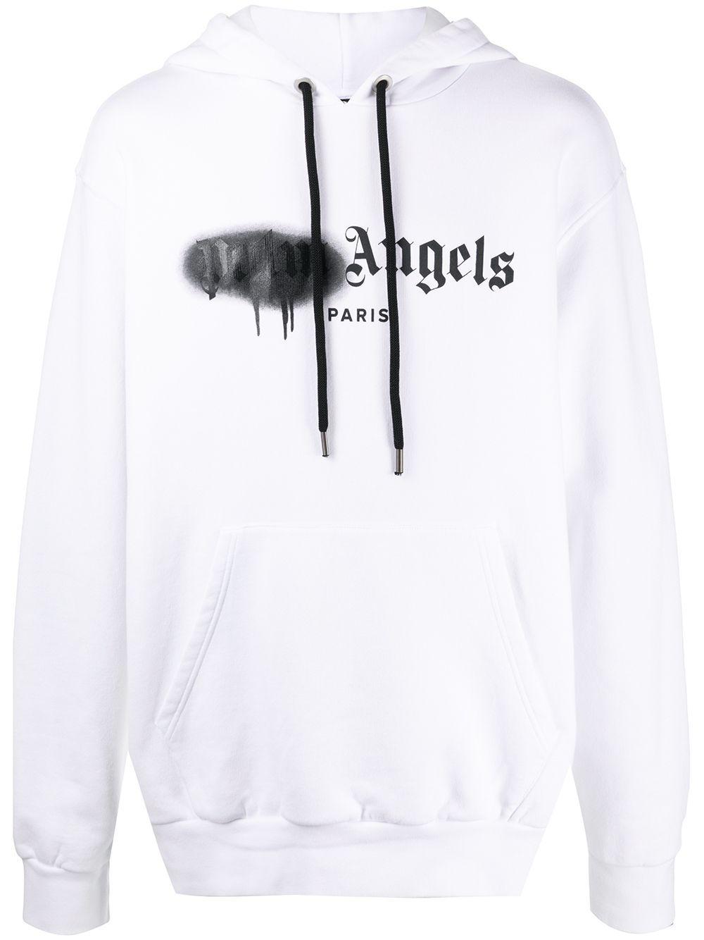 Palm Angels Paris Sprayed Logo Hoodie Farfetch In 2021 Hoodies Palm Angels White Hoodie [ 1334 x 1000 Pixel ]