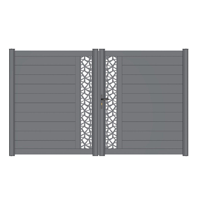Claustra Alu Leroy Merlin portail battant aluminium mix-it polygo gris zingué naterial