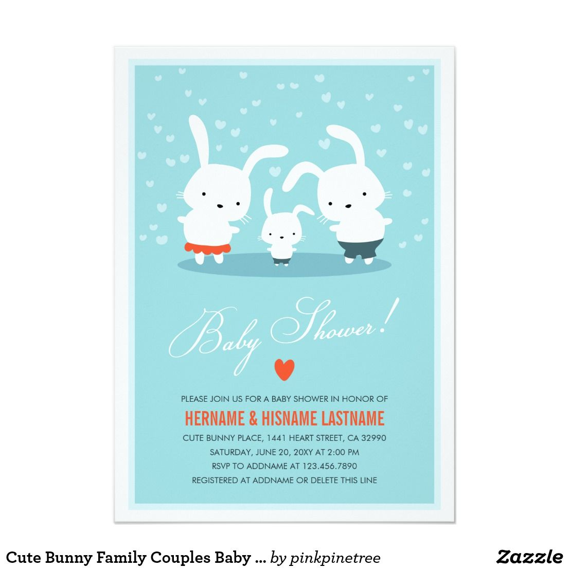 Cute bunny family couples baby shower invite blue couples baby showers cute bunny family couples baby shower invite blue stopboris Images