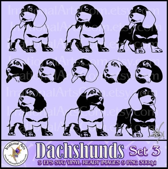 Dachshund set 3 Silhouettes Vector Vinyl Image by IrrationalArts