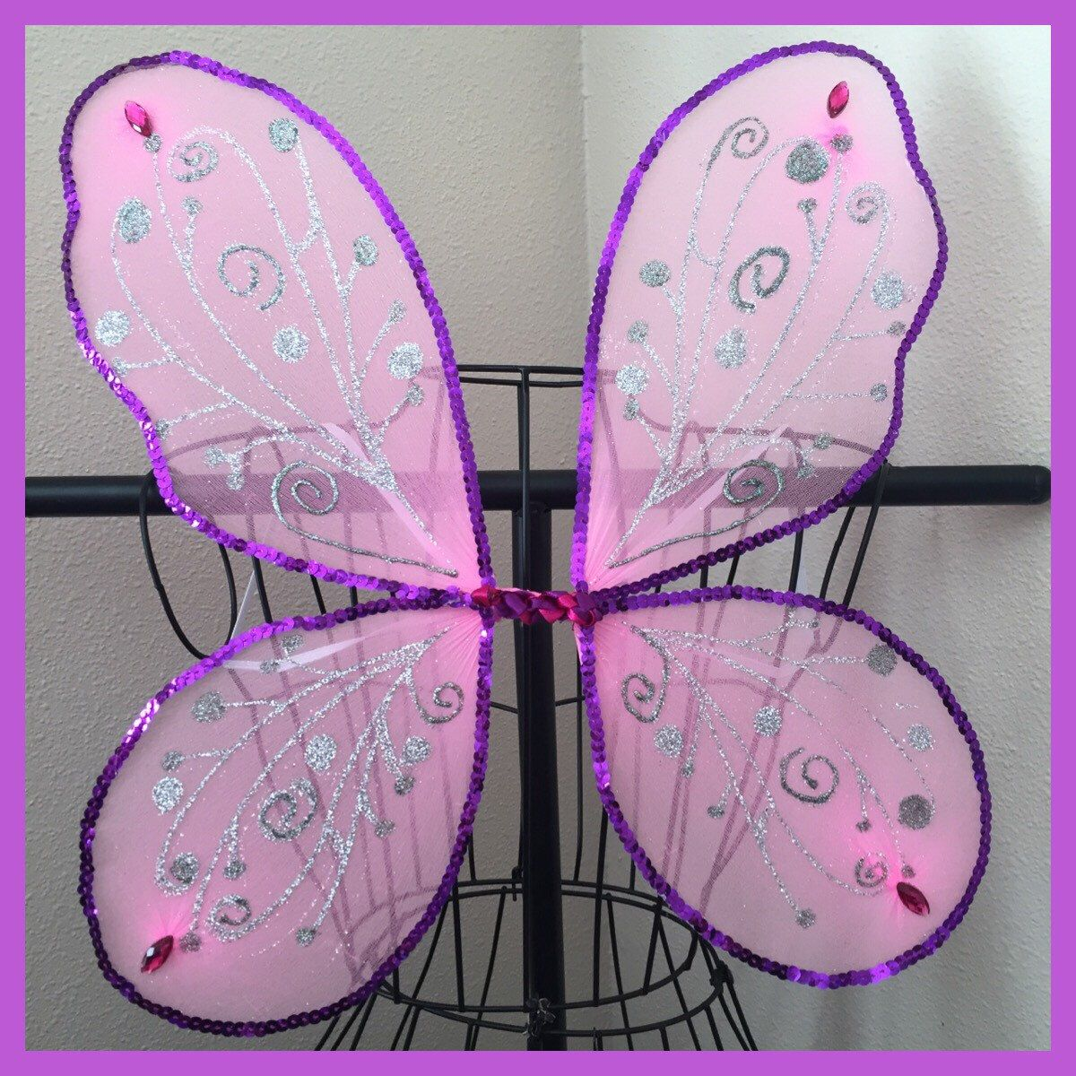 Bright Pink Purple Sequins Butterfly Fairy Wings Toddler Girls Teen Adult Glitter Popular