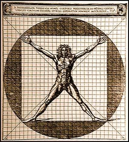 El Hombre Vitruviano por Cesare Cesariano