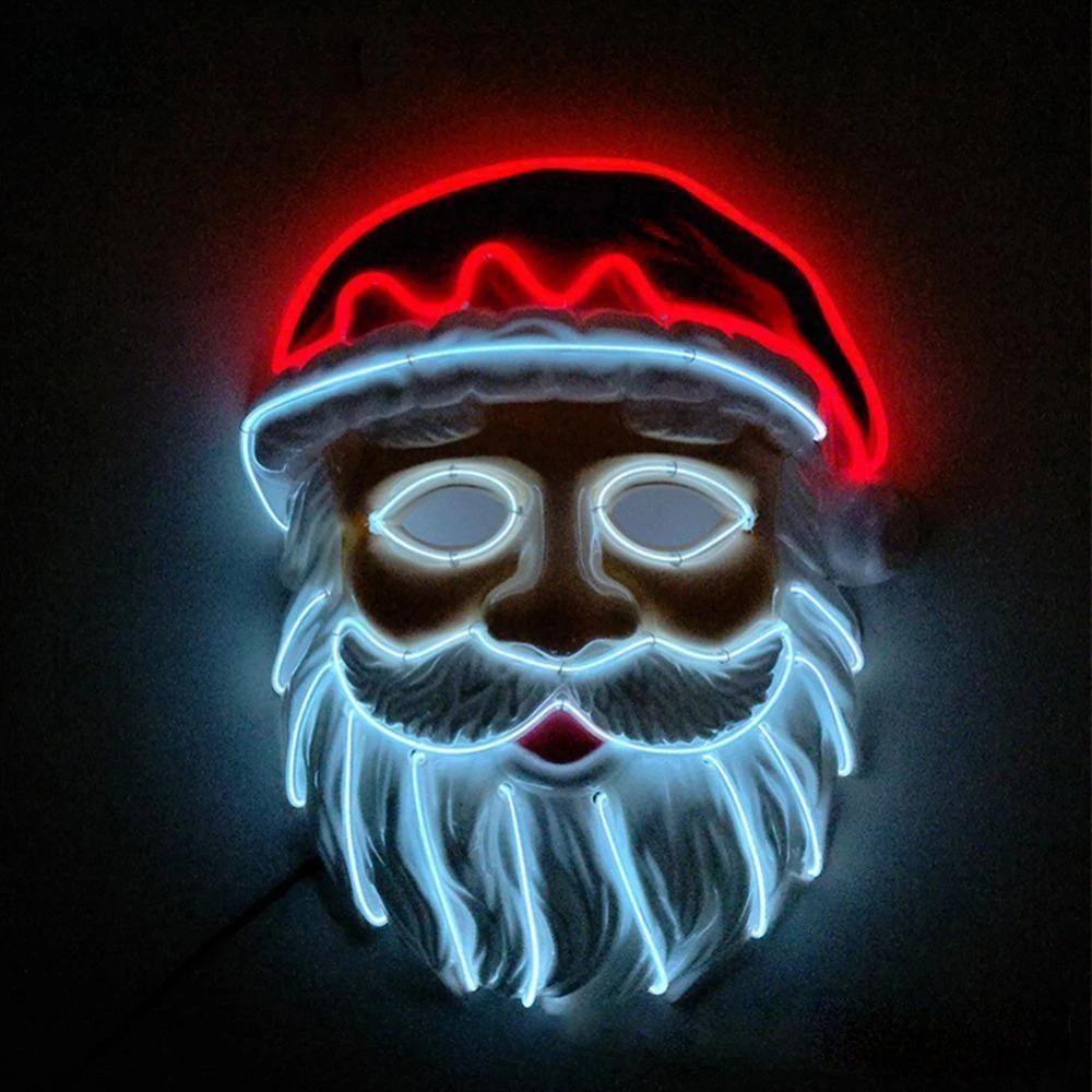 Santa Claus Mask for Christmas Led light costume, Mask