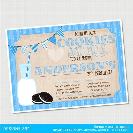Vintage Cookies & Milk Blue Birthday by PinkPickleParties on Etsy, $10.00