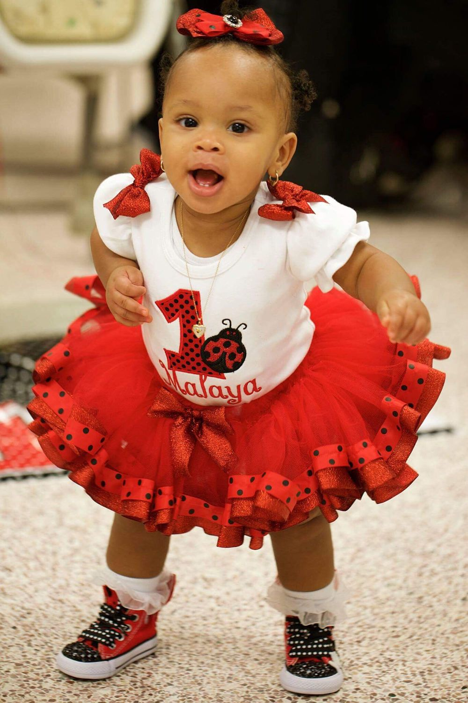 Baby girls first birthday 1st birthday red and black