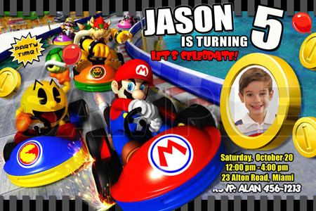 super mario kart birthday party invitations photo by mariagala44