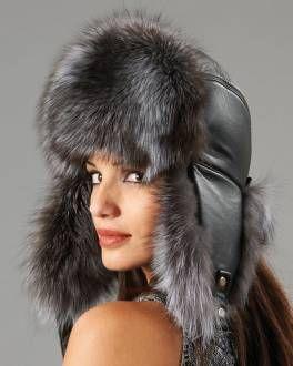 b304c26c888 Womens Silver Fox Fur   Leather Trapper Hat