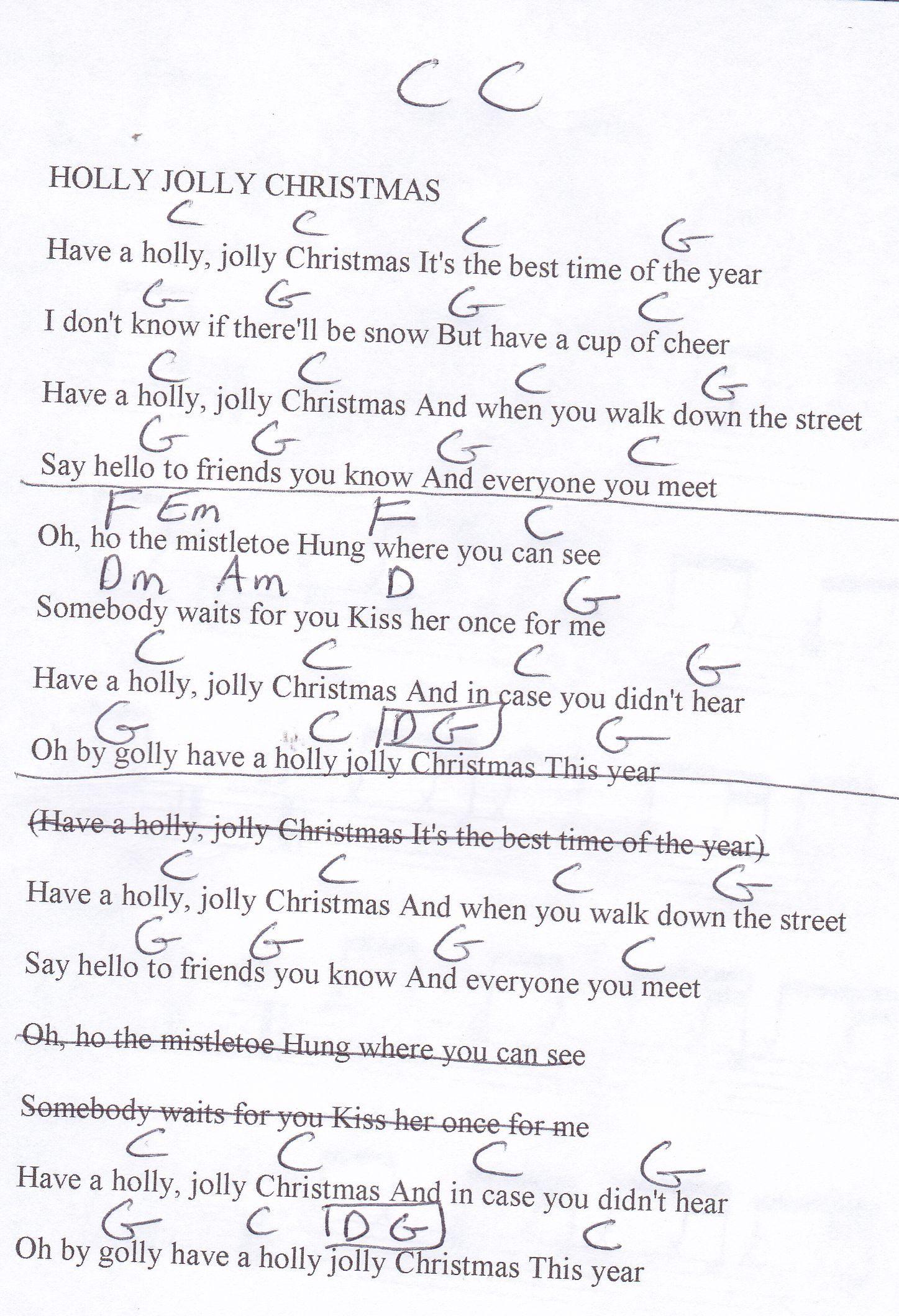 Holly Jolly Christmas - Guitar Chord Chart in C Major