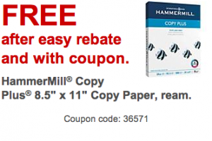 FREE Ream of Paper at Staples