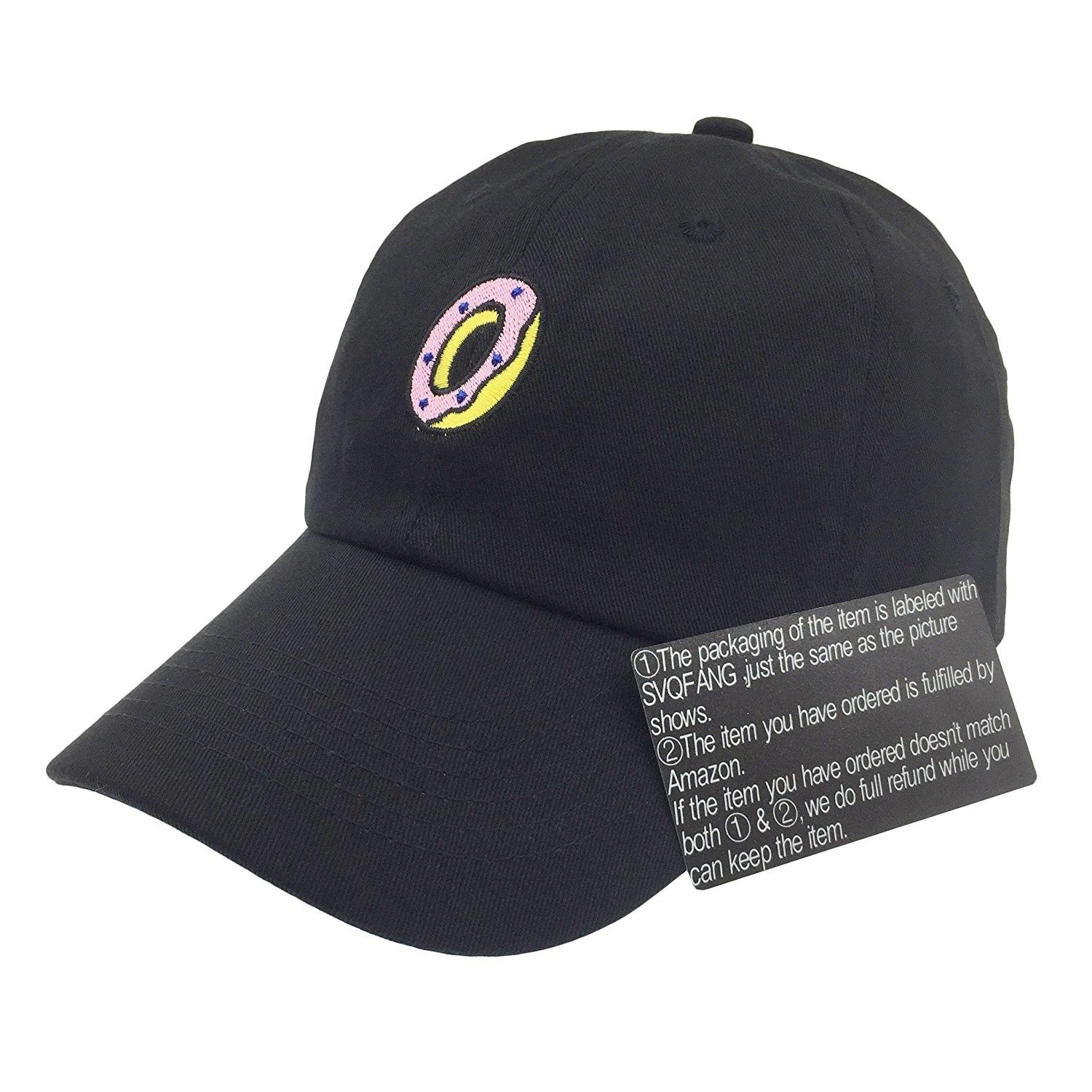 Donut Hat Baseball Cap Dad Hats Embroidered Floppy For Men Women  Unstructured - Black - C4185EX4094 - Hats   Caps 1b59cb218c6d