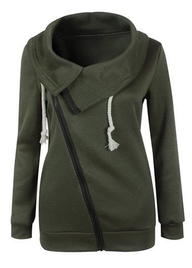 Army Green Cuff Sleeve Zipper Closure Sweatshirt on sale only US$23.94 now, buy cheap Army Green Cuff Sleeve Zipper Closure Sweatshirt at lulugal.com