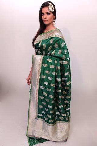 ed636f4b07 Kadhwa banarasi Saree in emerald green with gold and silver traditional  paisley bootas