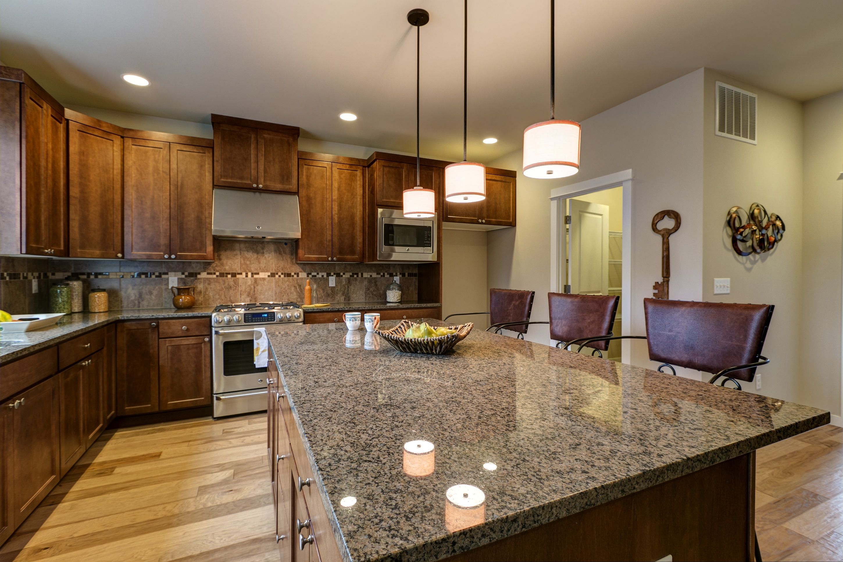 Kitchen: Tropic Brown granite with Chestnut stained ...