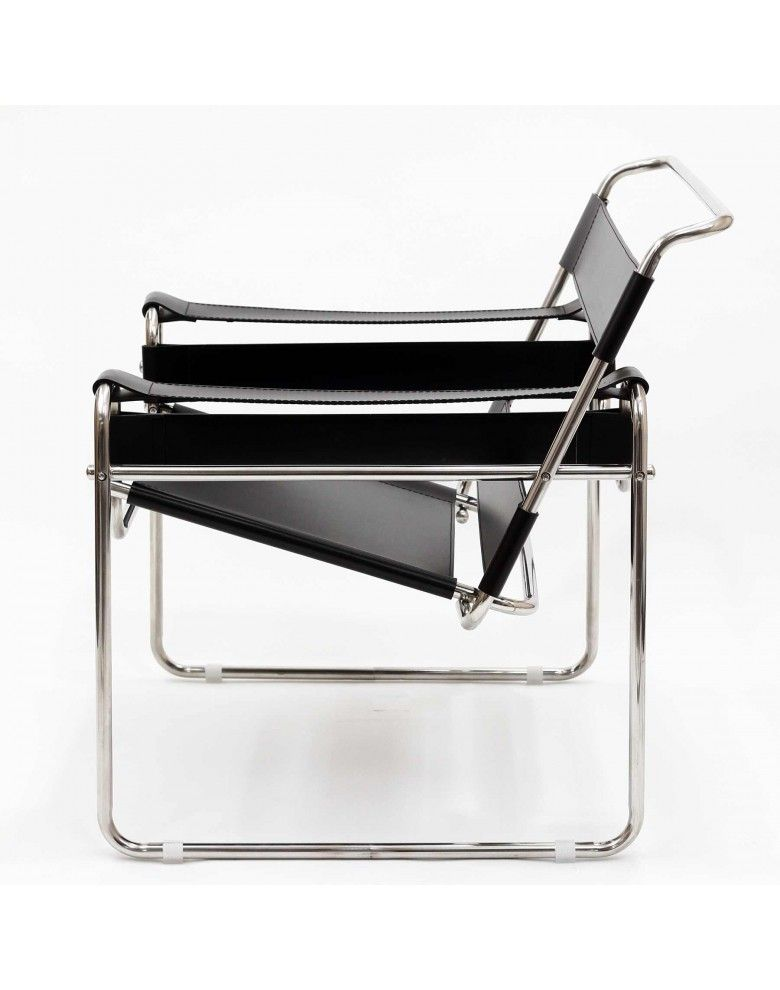 leather strap chair | tubular steel, marcel breuer and steel frame