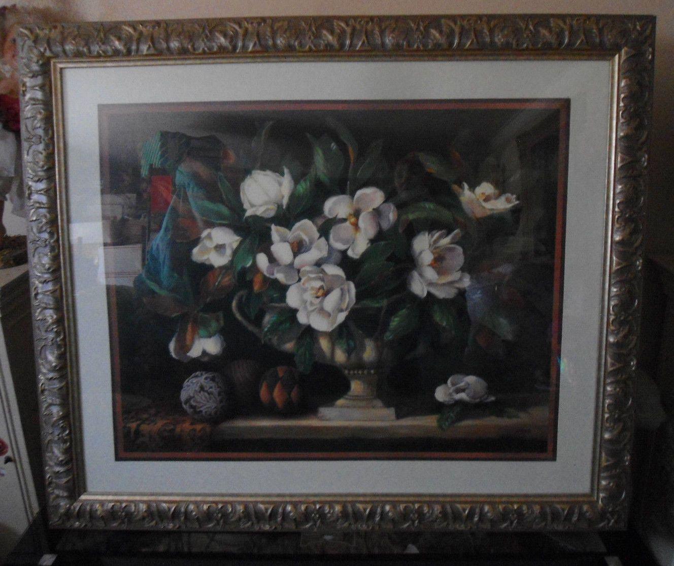 Magnolia Homes Interiors: Large Home Interiors Silver Framed Floral Magnolia Print