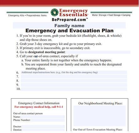 Family Emergency And Evacuation Plan Printable  Preparedness