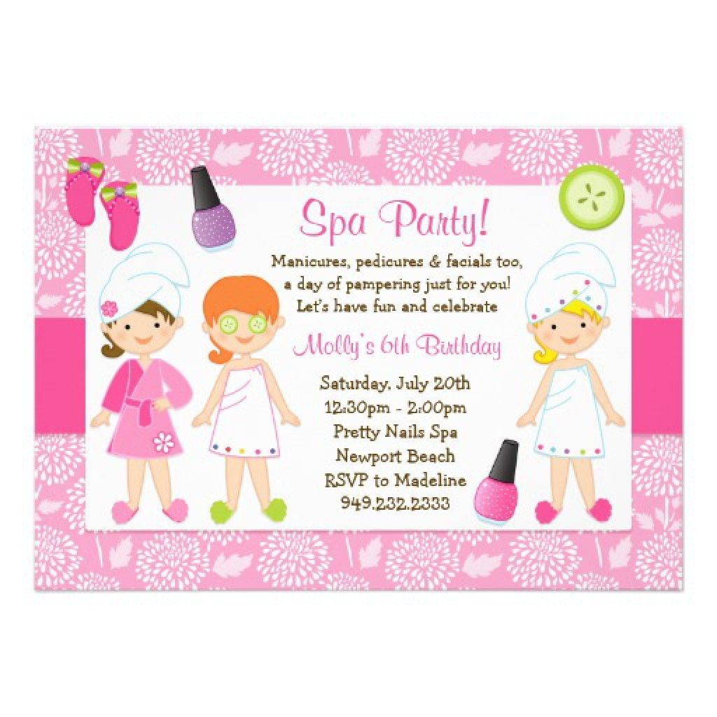 Sleepover Spa Party Invitations Templates Free 4 | Birthdays ...
