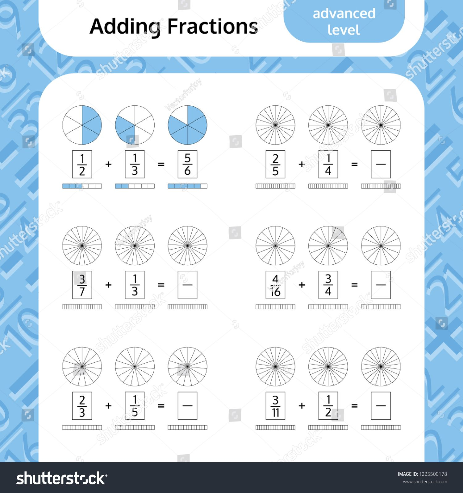 Adding Fractions Mathematical Worksheet Coloring Book