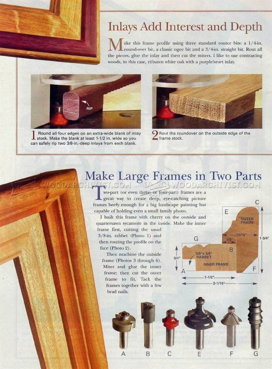 114 Router Made Picture Frame Woodworking Plans Inlay Craft