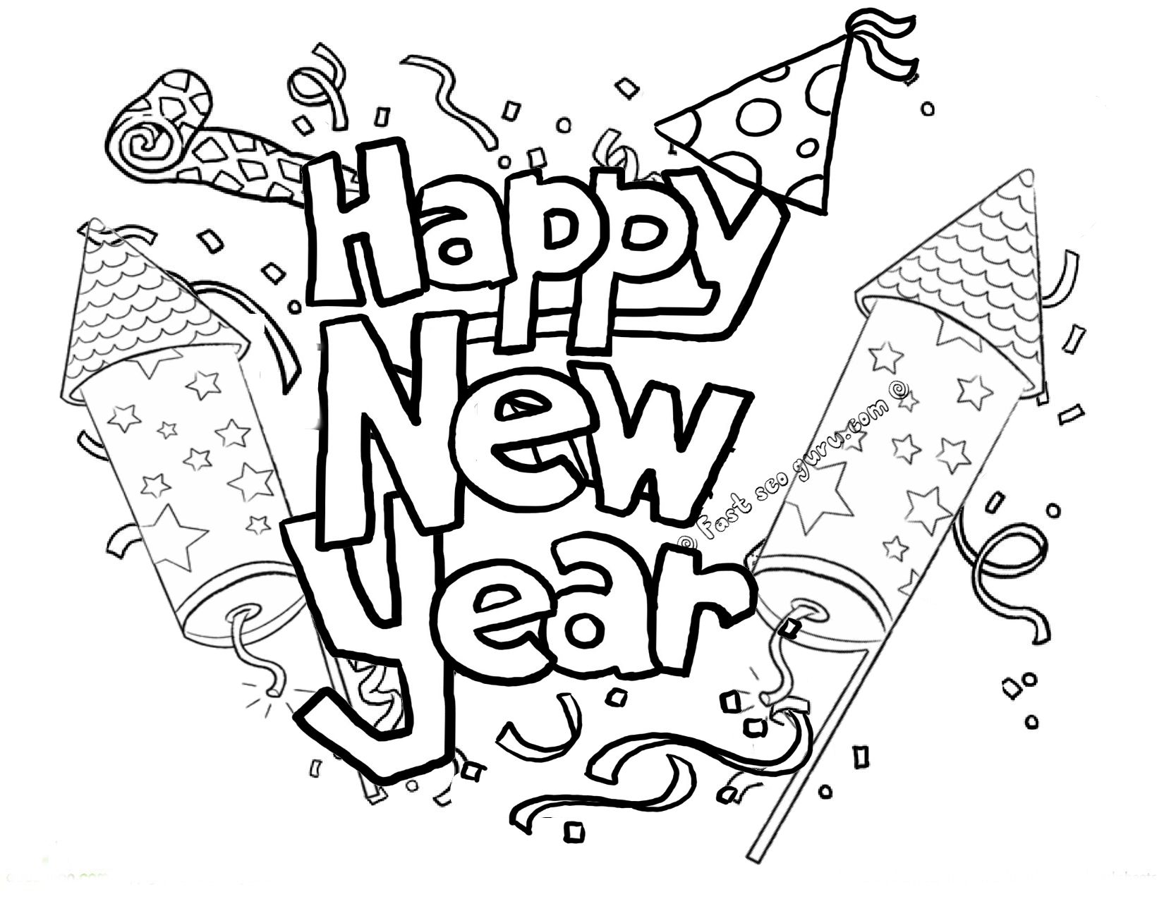 Printable Happy New Year Fireworks Coloring Pages Happy New Year