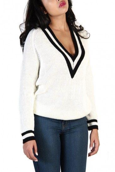 Black & White Talia V-Neck Sweater