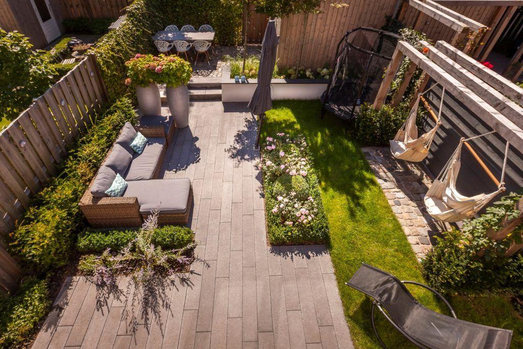 Kindvriendelijke tuin van de toekomst in rhoon. bekijk de fotos en