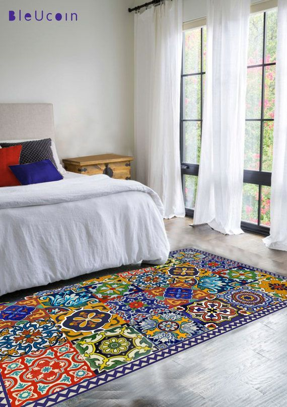 Floor Vinyl Rug Mexican Talavera Style By Bleucoin On Etsy Perfect For Pergola