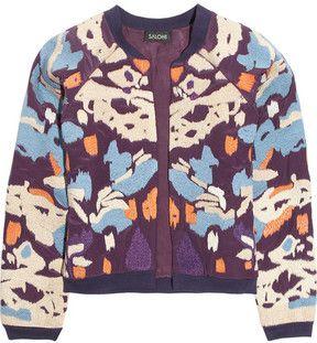 Saloni Embroidered satin-twill bomber jacket on shopstyle.com
