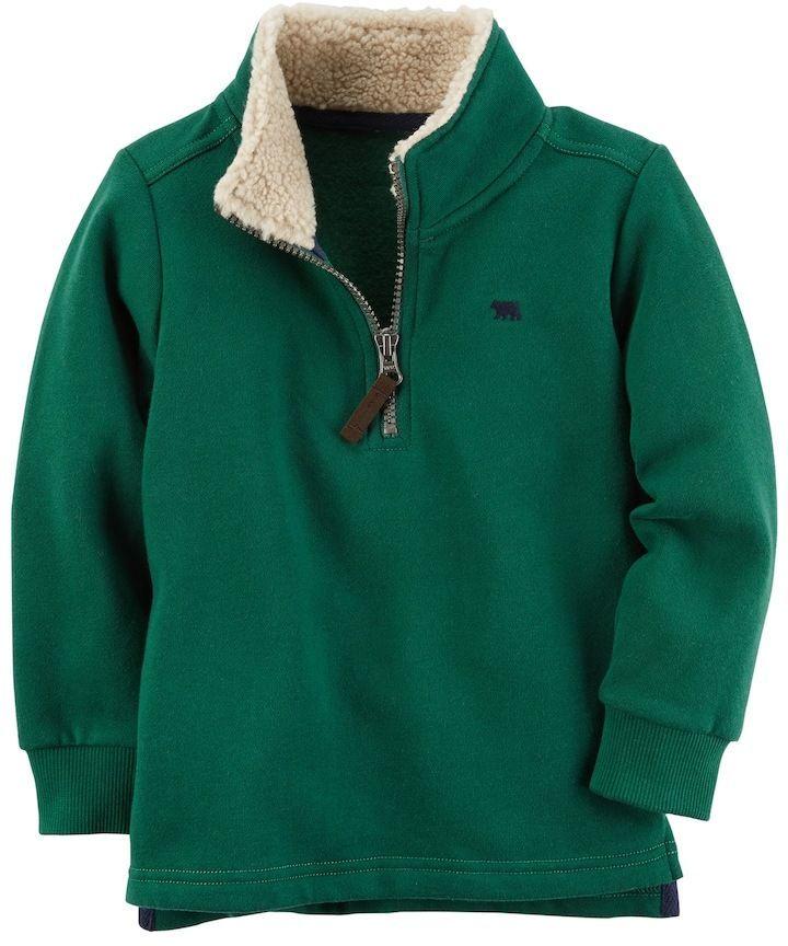 850c0fd4a Carter s Baby Boy 1 4-Zip Green Fleece Mockneck Pullover