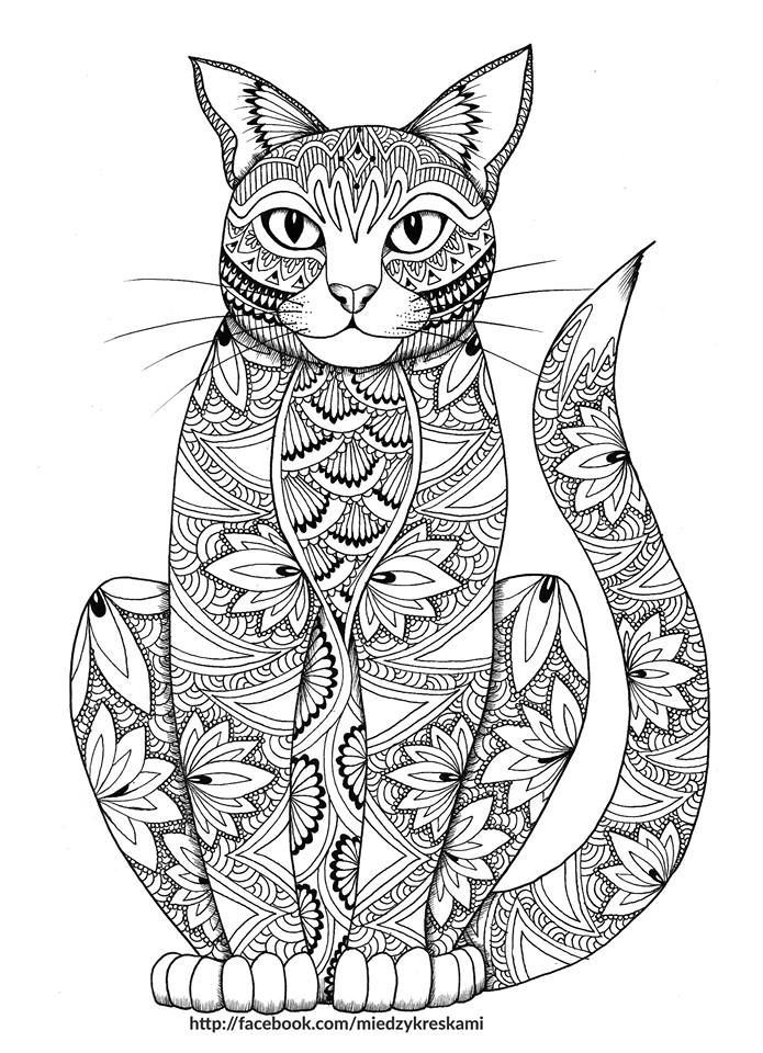Kitty coloring page for adults | Pastelky | Pinterest | Ausmalbilder ...