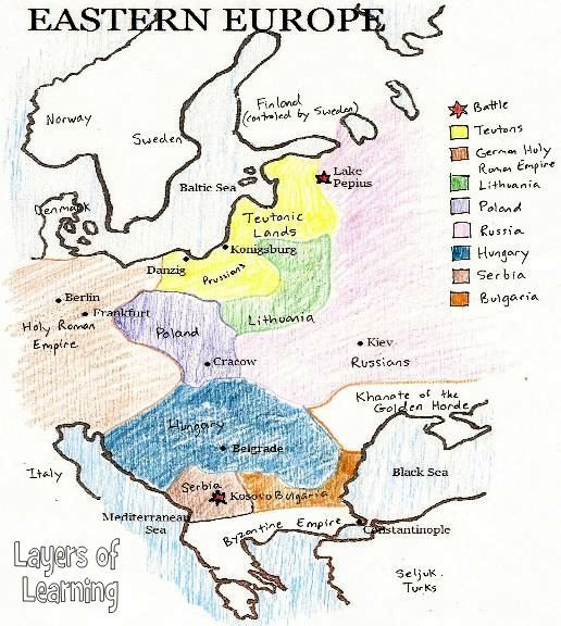 Eastern Europe in the Middle Ages a historical map to print and