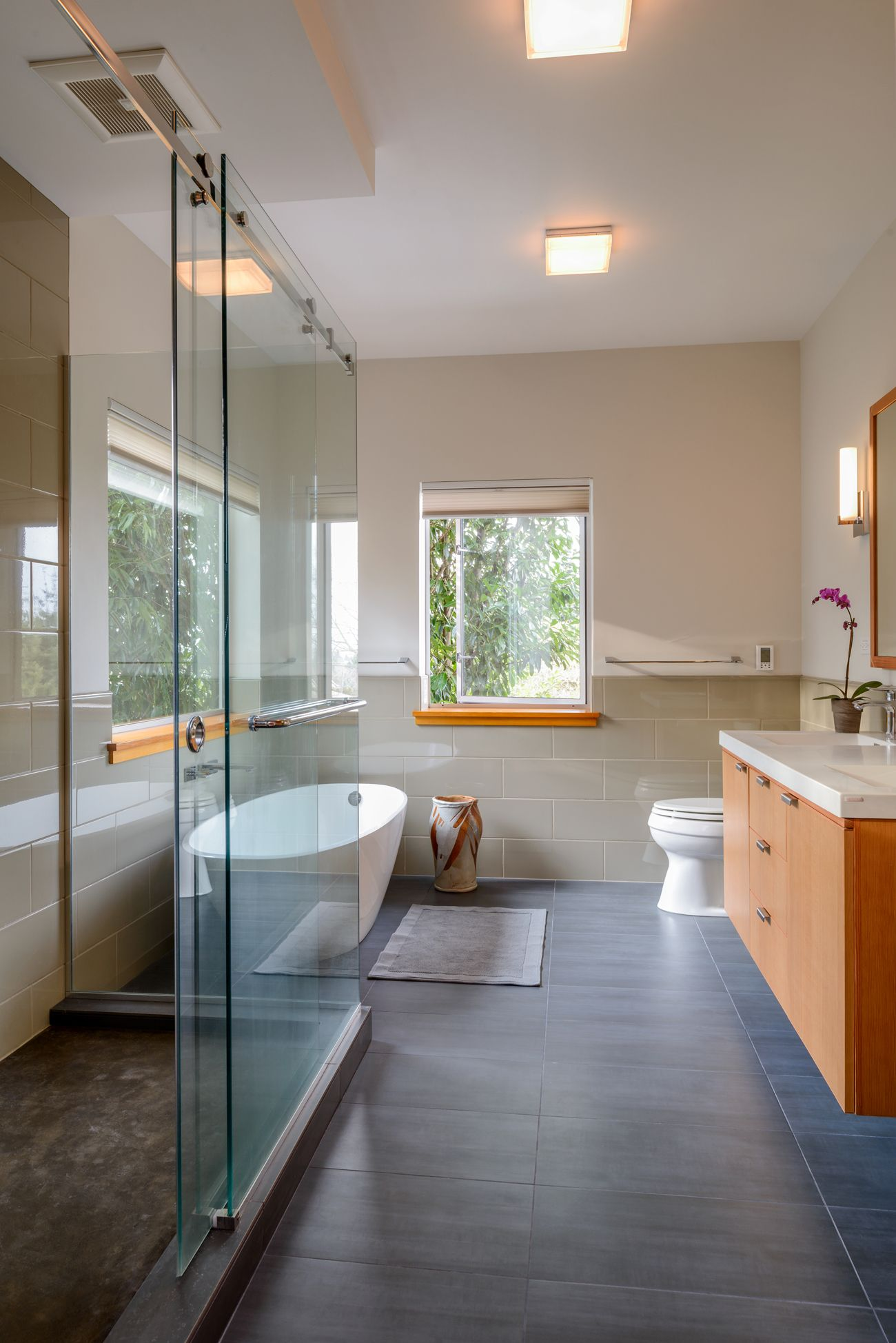 Seward Park Bathroom Remodel | Seattle | Modern Bathroom | Floating Tub |  Wood Window Sills