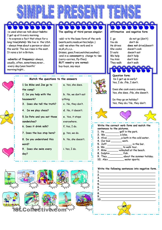 Present simple tense - worksheet - kindergarten level   Simple present tense [ 1440 x 1018 Pixel ]
