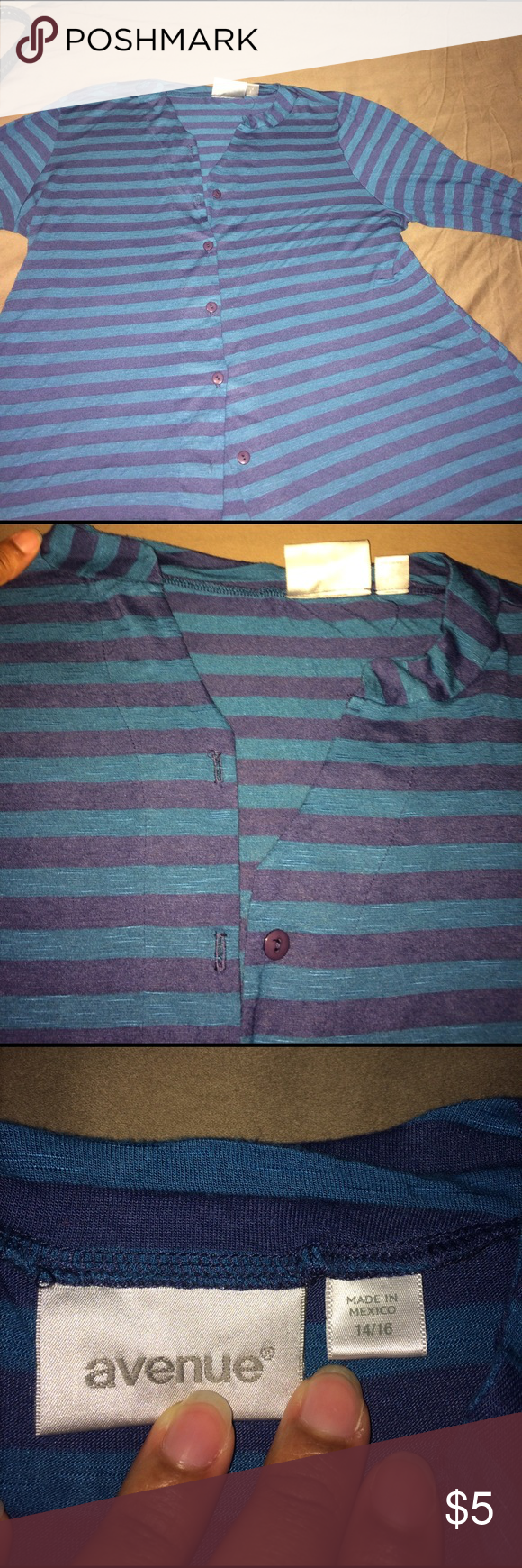 Ladies Top Light blue and blue striped top Avenue Tops Blouses