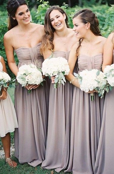 A Line Strapless Floor Length Grey Chiffon Bridesmaid Dress With Ruched