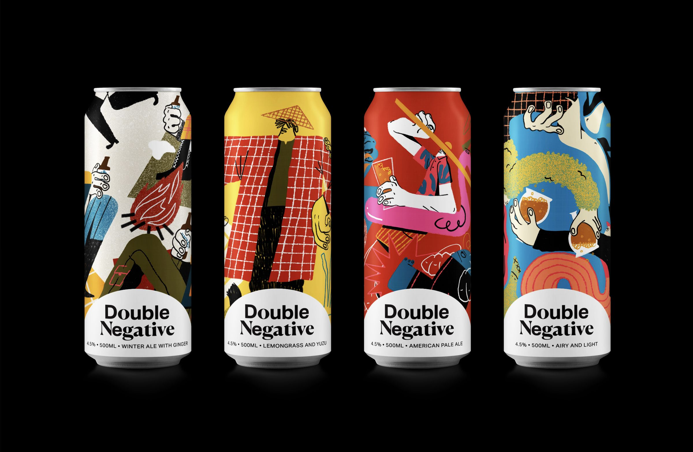 Double Negative Artisanal Brewery In 2020 Double Negative Creative Packaging Design Beer Packaging