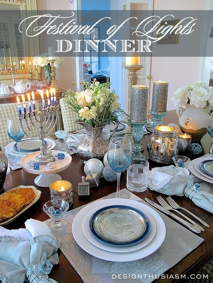 Candlelit Festival of Lights Hanukkah Table Setting