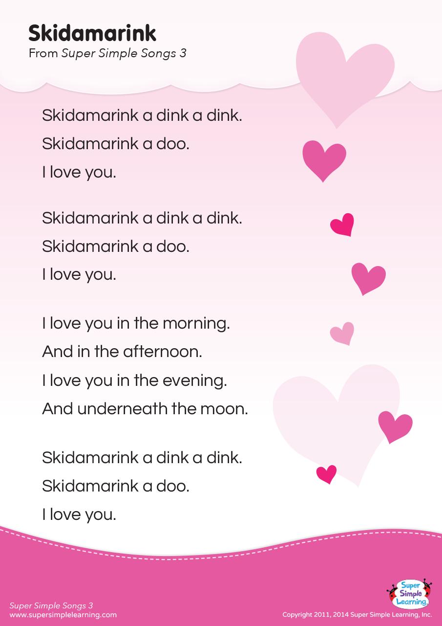 Skidamarink Lyrics Poster Super