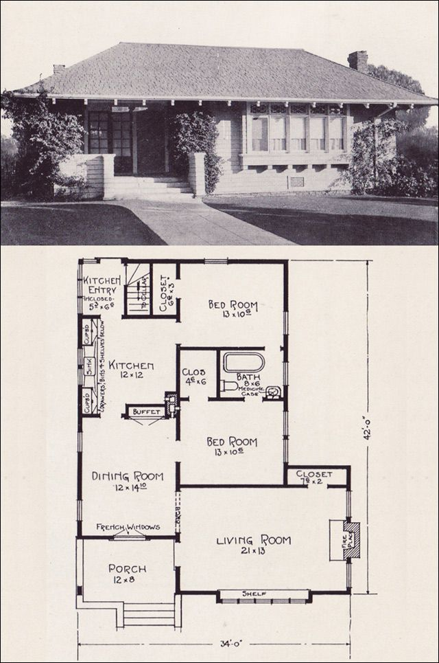 1922 hip roofed cottage style bungalow house plans by e w for House plans with hip roof styles