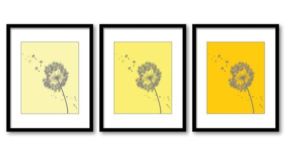 Yellow Grey Gray Dandelion Print Flower Set of 3 White Silhouette ...