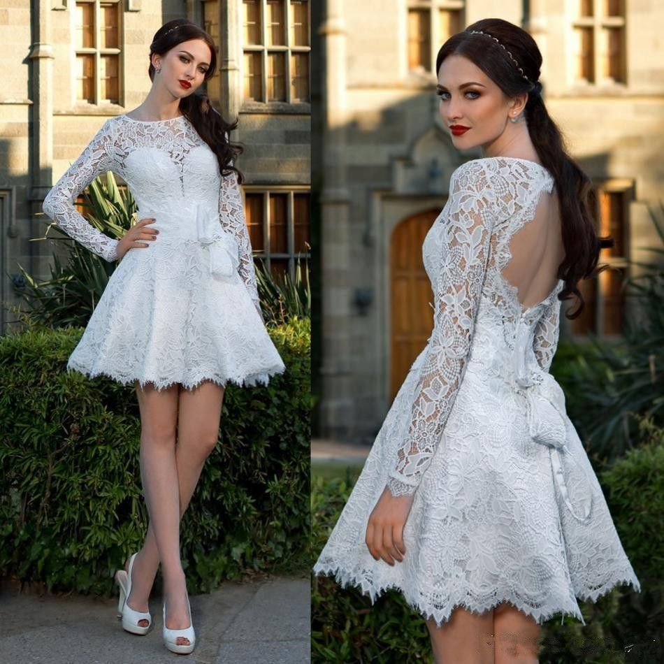 Hot White Long Sleeve Formal Homecoming Dresses 2017 With Bow Lace ...