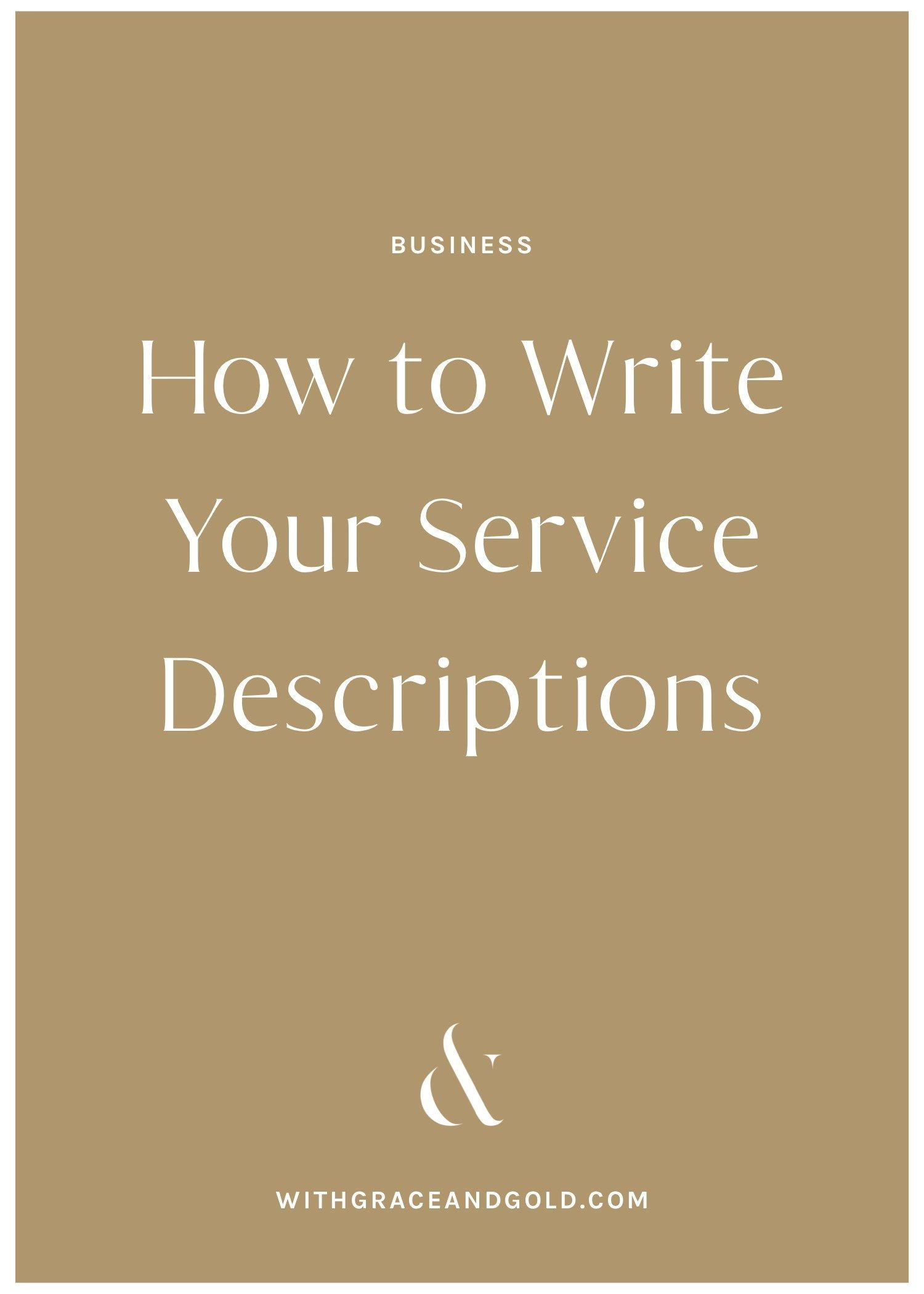 How to Write Your Service Descriptions by With Grace and Gold