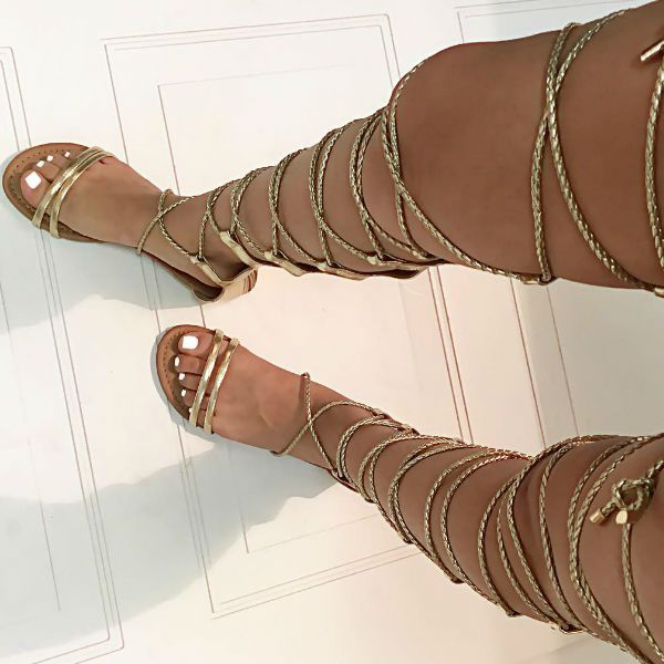 Lace up Thigh High Flat Sandals | Knee