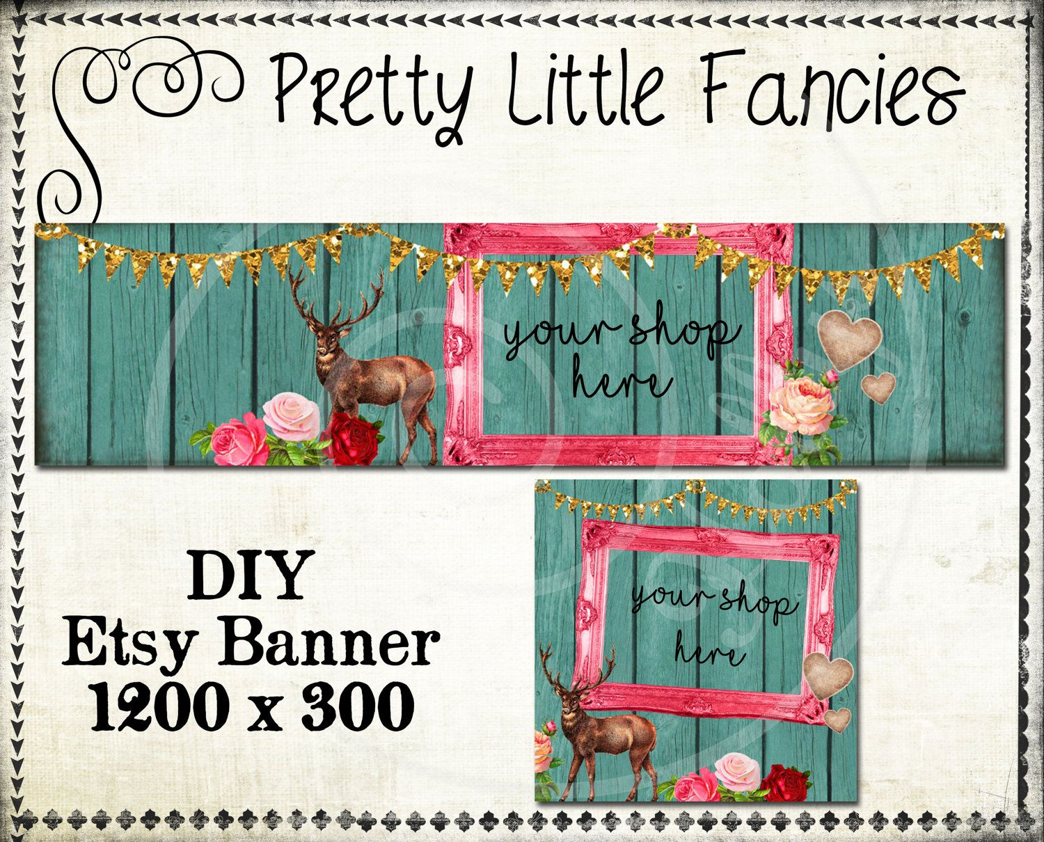 Banner Diy Template Premade Etsy Large