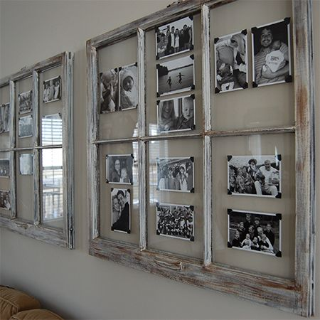 turn reclaimed old picture frame into photo art wall ...