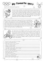 english worksheet my favourite sport reading sports english reading reading. Black Bedroom Furniture Sets. Home Design Ideas